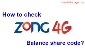 zong balance check & Zong Balance Share